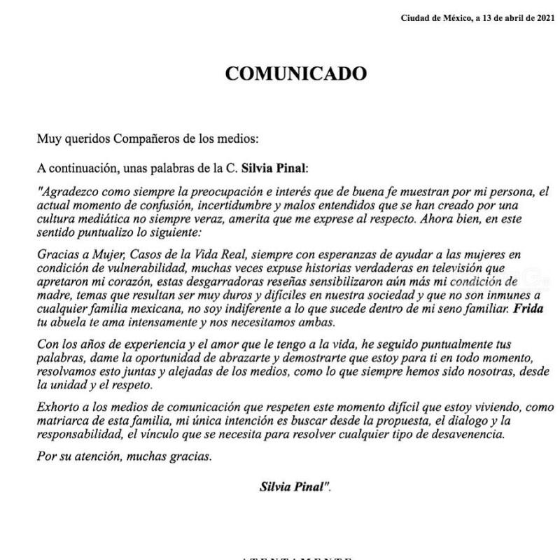 Silvia Pinal manda mensaje