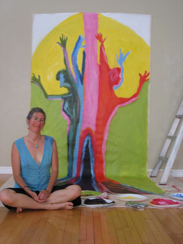 Sarah McClure Soul Art Intensive with her Money Tree Painting.