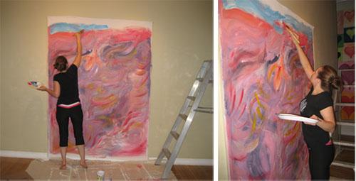 Karen Knowler painting during her Soul Art Intensive