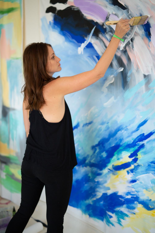 Devon Walz in painting process