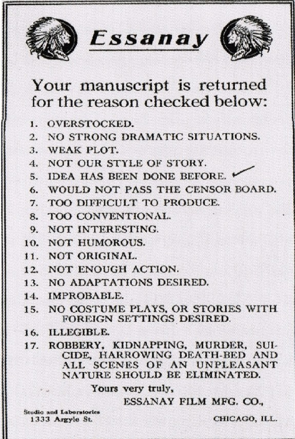Essanay Rejection Note