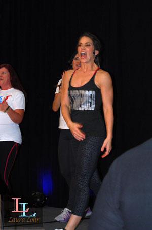 This is during the Body Shred class, in the very beginning.  What an awesome experience!