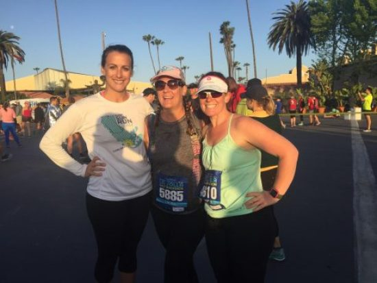 My friend Pam and her friend Aubrey, and I hanging before the race.