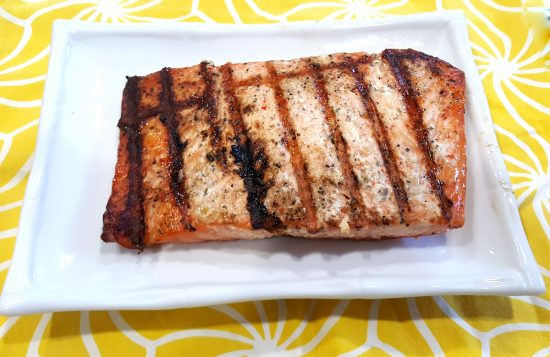 This salmon was pre-seasoned to perfection! All we had to do was throw it on our grill. YUMMY!