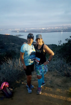 Me and my good friend, Mollie, before the race. Look at that view behind us!