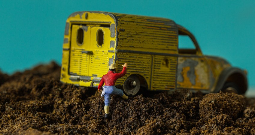 toy car in mud. motivation