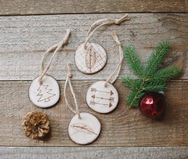 Wood Burned Christmas Ornaments On Wood Slices Woodburned Ornaments For Christmas On Tree Slices