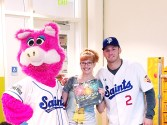 Mudonna, me, and Blake Schmidt of the Saint Paul Saints