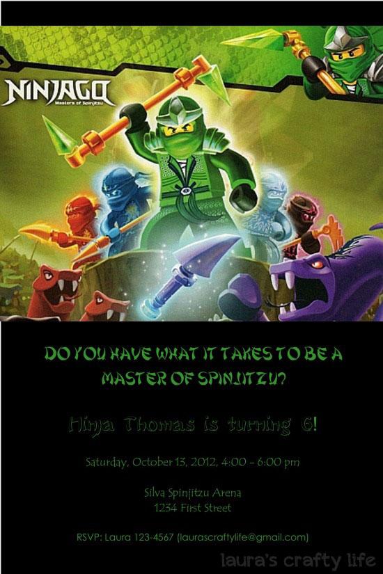 ninjago party invitation
