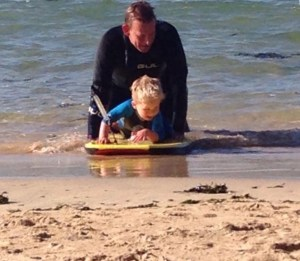 Surfing with son