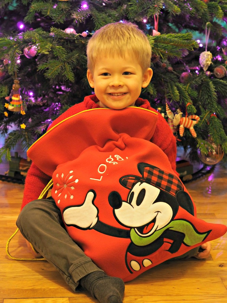 Personalised Stockings with the Disney Store - Logan with his personalised stocking