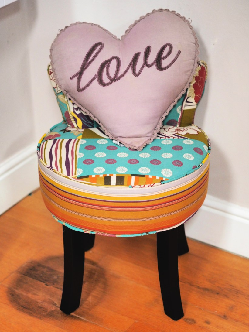 Organising Those Finishing Touches with Wayfair - patchwork vanity stool with cushion