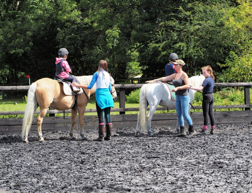 Children on their riding lesson