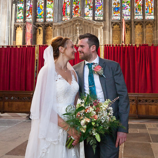 bride and groom look lovingly at each other st marys church nottingham wedding venue