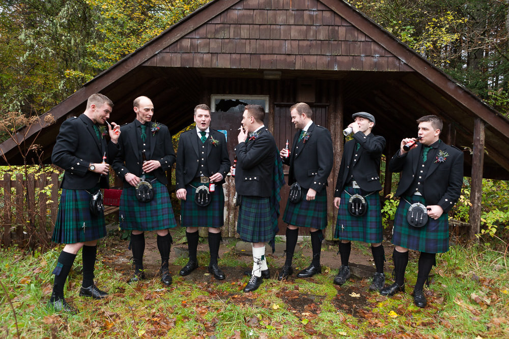 Groomsmen relaxing at Balmacara campsite before they go to Isle of Skye Wedding