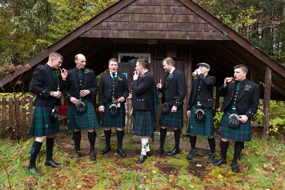 Groomsmen relaxing at Balmacara campsite before they go to Isle of Skye Wedding