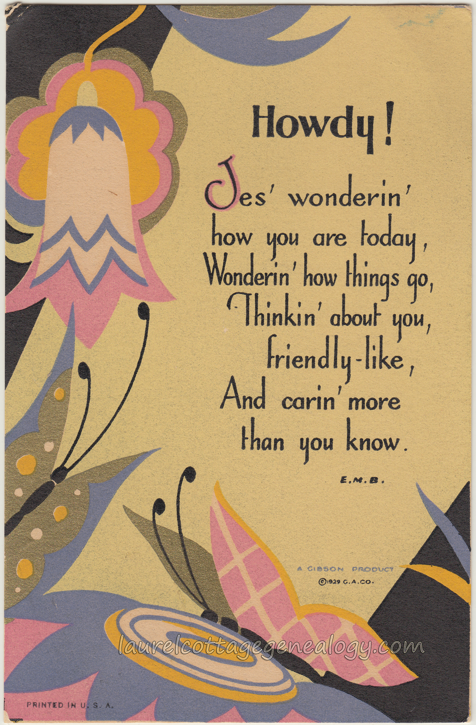 Vintage Art Deco Greeting Cards Of Butterflies And Flowers