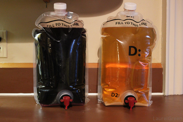 a photo of merlot and chardonnay clearing in transparent pouches