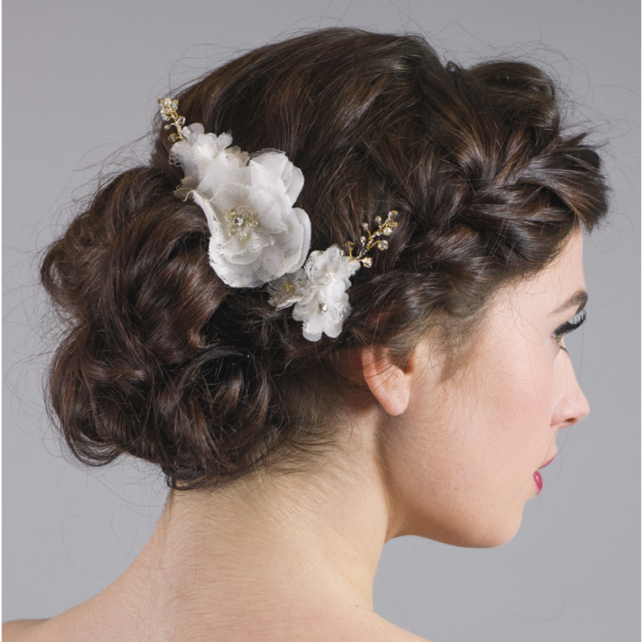 Wedding Hairstyle For Square Face: Forget Me Knot Bridal Lace Flower Hairpins