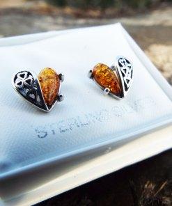 Amber Earrings Hearts Studs Gemstone Stone Handmade Silver Gothic Dark Sterling 925 Jewelry Valentine