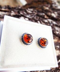 Amber Earrings Studs Gemstone Stone Handmade Silver Celtic Gothic Dark Sterling 925 Jewelry