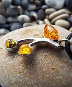 Amber Pendant Silver Gemstone Necklace Sterling 925 Handmade Gothic Antique Vintage Jewelry Protection