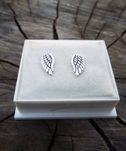 Angel Earrings Studs Silver Gothic Handmade Sterling 925 Symbol Divine Jewelry