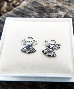 Angel Earrings Studs Silver Handmade Jewelry Gothic Symbol Wings Bohemian Dark