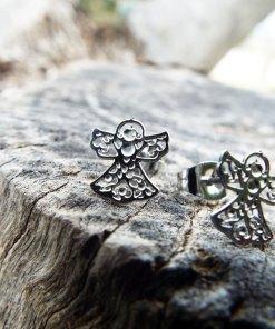 Angel Earrings Studs Silver Handmade Jewelry Gothic Symbol Wings Bohemian Dark