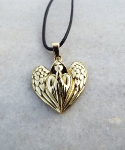 Angel Pendant Handmade Wings Necklace Spiritual Protection Gothic Dark Jewelry