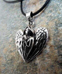 Angel Pendant Silver Handmade Necklace Wings Necklace Spiritual Protection Gothic Dark Jewelry