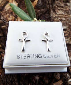 Ankh Earrings Studs Handmade Silver Cross Egyptian Ancient Gothic Dark Sterling 925 Jewelry