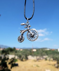 Bicycle Bike Pendant Silver Handmade Necklace Sterling 925 Transport Transition Freedom Symbol Vintage Antique Boho Jewelry