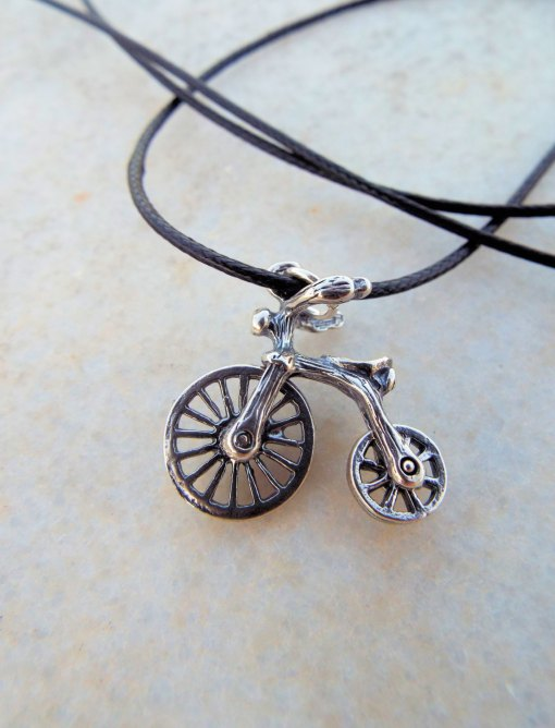 Bicycle Bike Pendant Silver Handmade Necklace Sterling 925 Transport Transition Freedom Symbol Vintage Antique Boho Jewelry