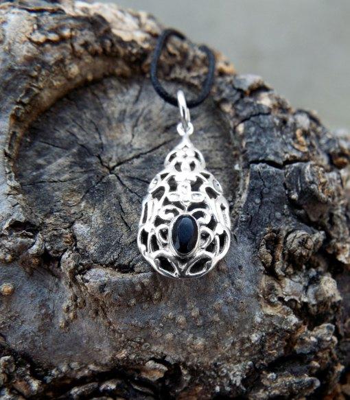 Black Onyx Pendant Silver Necklace Handmade Sterling 925 Antique Vintage Filigree Gothic Dark Jewelry