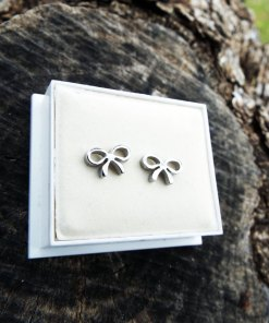 Bow Earrings Studs Silver Handmade Ribbons Cute Feminine Girls Jewelry