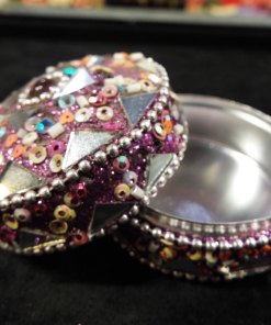 Box Jewelry Trinket Indian Handmade Home Decor Pink Purple Mirror