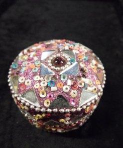 Box Jewelry Trinket Indian Handmade Home Decor Pink Purple Mirror