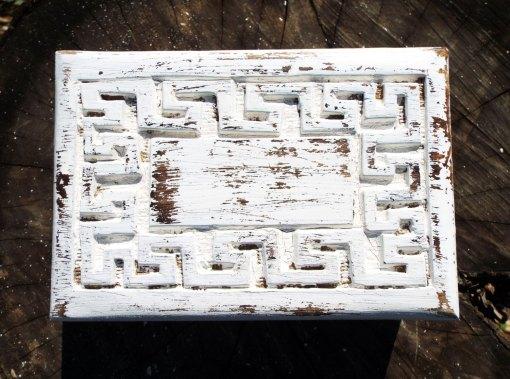 Box Meander Symbol Ancient Greek Wooden Carved Handmade Trinket Jewelry Greek Labyrinth Key Pattern Antique Vintage Mango Tree Eco Friendly