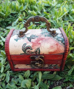 Box Vintage Floral Paisley Leaves Handmade Wooden Genuine Leather Treasure Chest Jewelry Trinket Antique Vintage Gothic