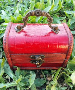 Box Vintage Handmade Wooden Genuine Leather Treasure Chest Jewelry Trinket Antique Vintage Gothic