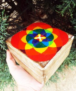 Box Wooden Flower of Life Seed of Life Symbol Handmade Trinket Chest Wicca Wiccan Magic Pagan Energy Painted Mango Tree Wood Eco Friendly