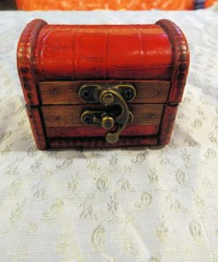 Box Wooden Handmade Wooden Leather Vintage Treasure Chest Jewelry Trinket