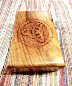 Box Wooden Jewelry Celtic Triquetra Hand Carved Handmade Home Decor Trinket Treasure Chest 15