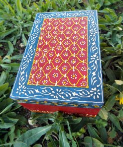 Box Wooden Jewelry Hand Painted Handmade Flower Balinese Home Decor Indian Floral Trinket Velvet Treasure Chest