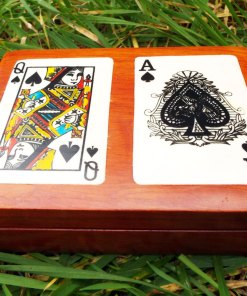 Box Wooden Tarot Playing Cards Reading Handmade Trinket Wood Gothic Magic Magician Black Spades Queen Ace κουτι ξυλινο