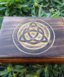 Box Wooden Triquetra Celtic Symbol Handmade Carved Gothic Dark Home Decor Trinket Treasure Chest