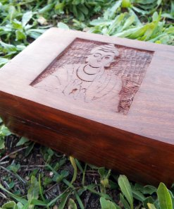 Buddha Box Handmade Wooden Chest Mango Tree Wood Jewelry Symbol Buddhism Buddhist Eco Friendly