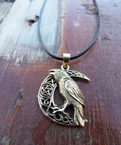 Crow Pendant Moon Crescent Pentagram Star Bronze Handmade Necklace Wicca Wiccan Gothic Dark Magic Protection Jewelry