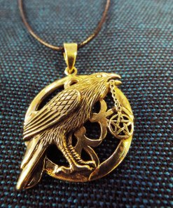 Crow Pendant Pentagram Bronze Handmade Necklace Gothic Dark Magic Protection Jewelry